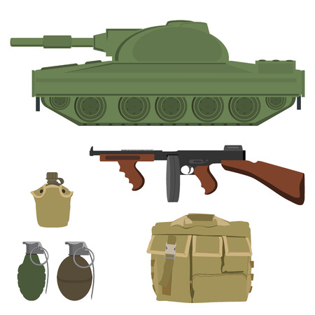 Military raster icon set - military transportation tank, grenade explosive bomb, gun, camouflage bag with many pockets and army water canteen or flask.  Army weapon