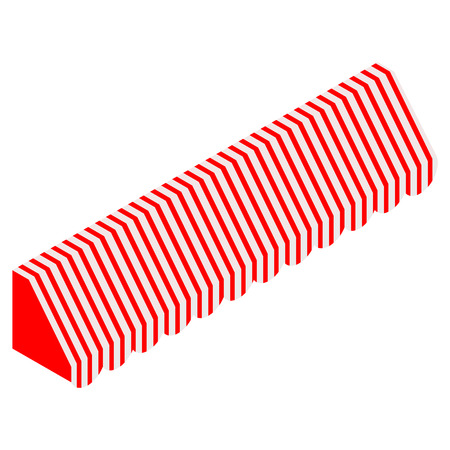 Raster illustration 3d isometric perspective striped awning for shop. Red and white awning .