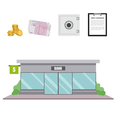 internet terminal: Raster illustration bank facade building in flat style. Finance and banking icon set.