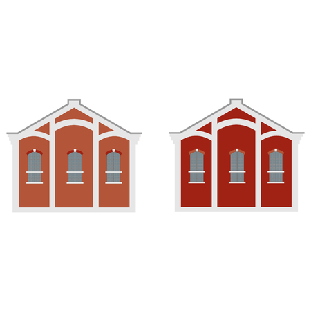 Raster illustration old town factory building. Architecture. Manufactory icon. Stock Photo