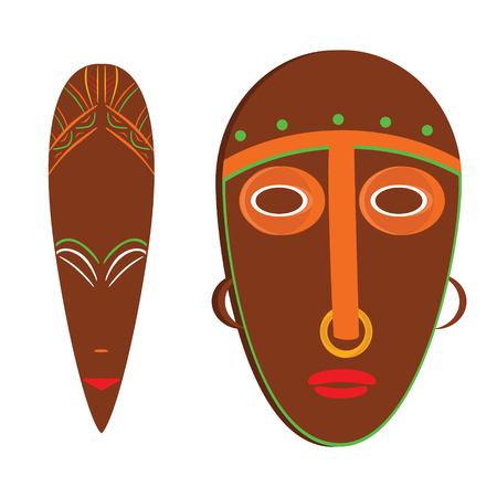 Vector illustration african mask. Tribal mask icon. Totem mask