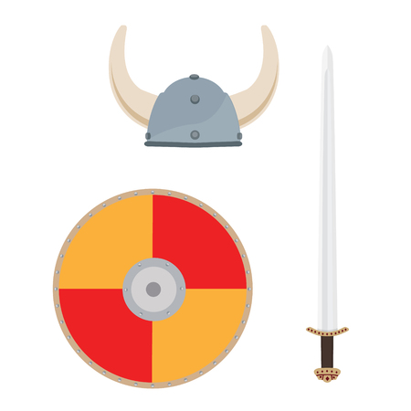 Vector illustration viking medieval hat, sword and orange shield isolated on white background. Scandinavian, norseman weapon and armor icon set, collection