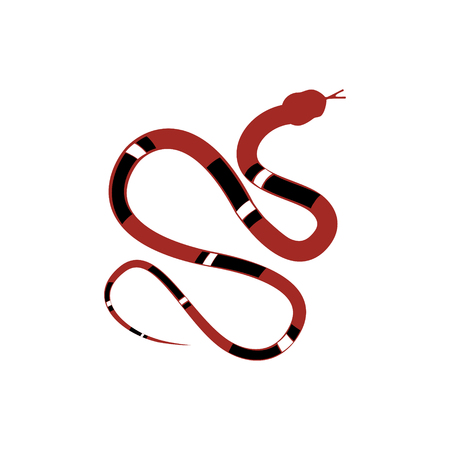 Vector illustration red and black reptile snake or serpent flat icon for animal