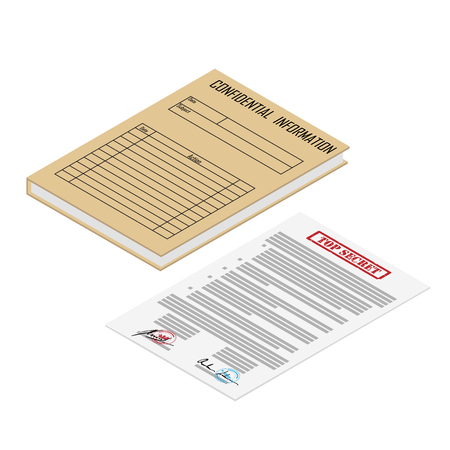 Vector illustration 3d isometric perspective brown file folder with confidential information and contract icon isolated on white background