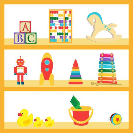 funny robot: Vector illustration baby kids toys on wood shop shelves. Different children toys set, collection Illustration