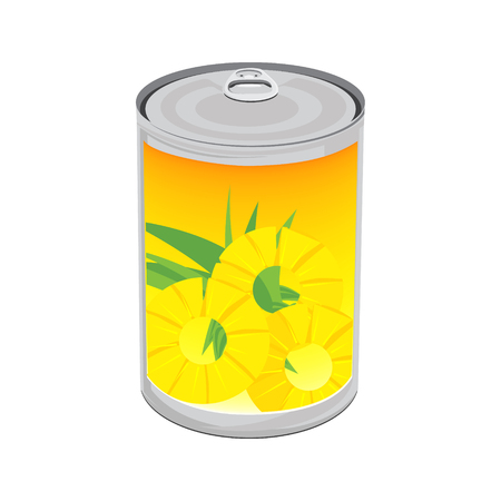 Vector illustration tinned pineapple rings isolated on white background. Pineapple in aluminum can Illustration
