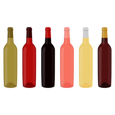 Vector illustration set, collection of wine bottles with red, white and rose wine. Alcohol bottle icon