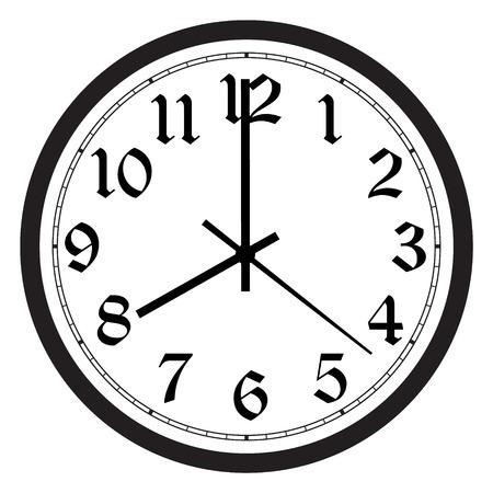 Vector el reloj de pared redondo blanco y negro clásico simple aislado en blanco. Reloj en la pared muestra las ocho en punto