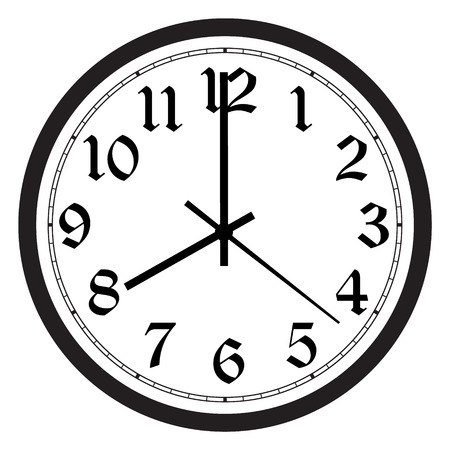 Vector simple classic black and white round wall clock isolated on white. Clock on wall shows eight oclock