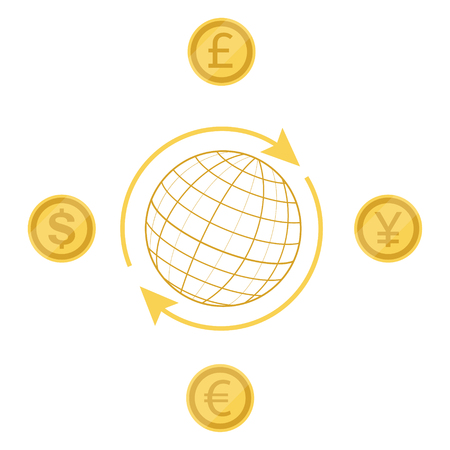 Vector illustration international currency exchange concept dollar, pound, yen and euro coins. Cash and money, wealth, payment symbol