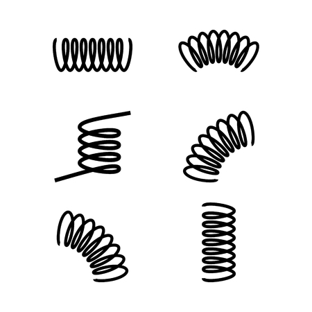 Vector illustration black silhouette of spring icon set, collection isolated on white background. Metal spiral flexible wire elastic Çizim