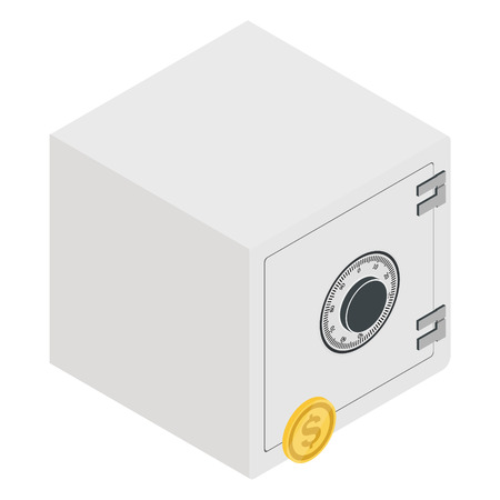 Vector illustration isometric 3d metal bank safe and dollar coin icon. Closed safe Ilustração