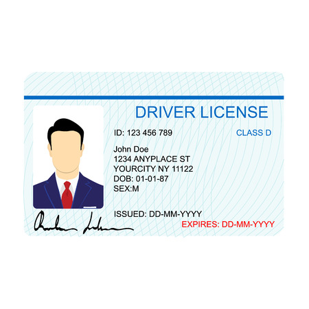 Vector illustration man driver license card template