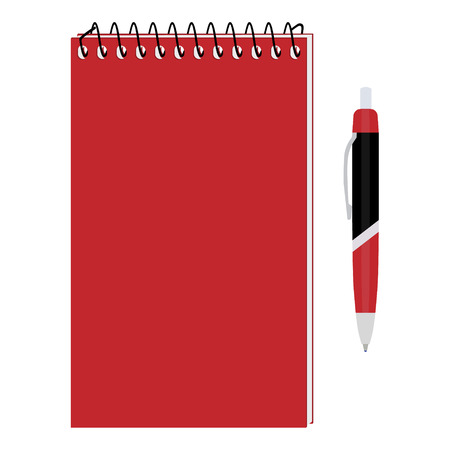 Vector illustration of red spiral notepad, diary, notebook or personal organizer with ball pen. Closed notebook. Red notebook cover