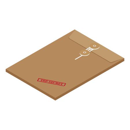 3s isometric perspective brown long postal envelope template with red rubber stamp top secret vector illustration. Envelope sealed with string. Ilustração
