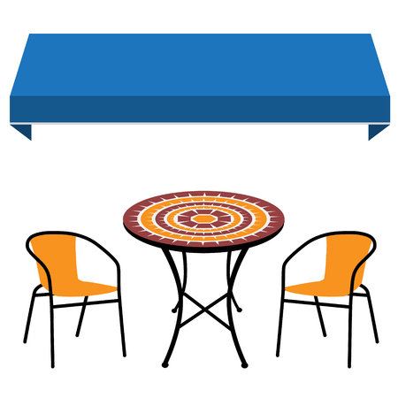 Blue shop window awning vintage outdoor table and two chairs. Round table and chair raster icon. Restaurant furniture