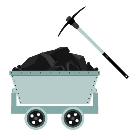 Coal, mine, trolley and pickaxe icon raster illustration. Energy and technology. Suitable for web apps, mobile apps and print media. Coal mine wagon Stock Photo