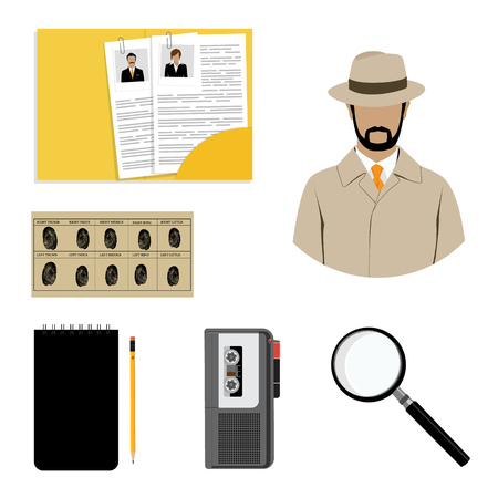 Raster illustration detective interrogation concept notepad with pencil and dictaphone. Detective equipment icon set, collection