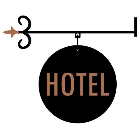 Raster illustration hotel vintage, old sign.  Signage shop sign route hanging information banner retailer. Hotel door sign Stock Photo