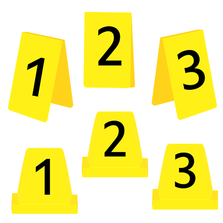 Raster illustration set of three yellow marker of crime scene with numbers 1,2,3. Evidence marker.