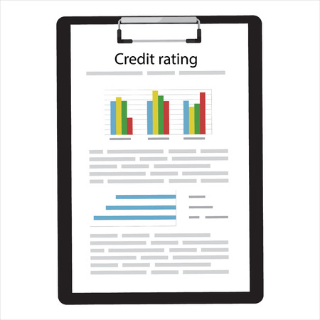 Raster illustration credit score, rating document concept. Chart of personal credit score information, person data report form, good index of credit history. Stock Photo