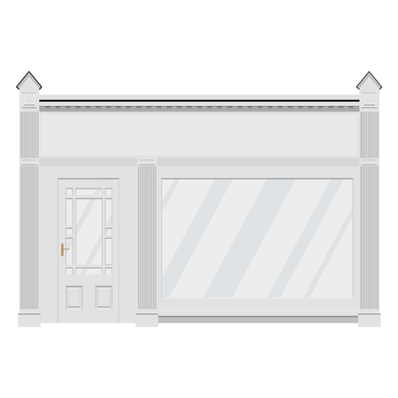 Raster illustration classic shop boutique building store front with glass showcase. Architecture facade