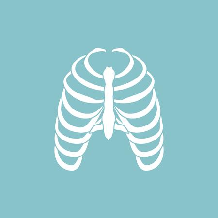 Raster illustration human ribs cage symbol. Thoracic bones icon.