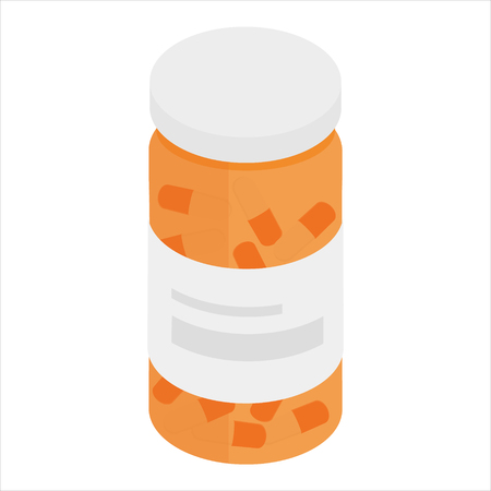 pill prescription: Raster illustration 3d isometric perspective pill bottle icon isolated on white background. Pill bottle for capsules. Medical container. Flat style.
