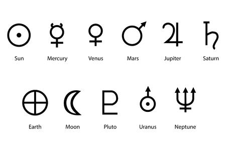 Raster illustratie planeet symbolen met namen. Sterrenbeelden en astrologie symbolen van planeten