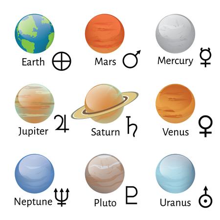 Rasterillustration Planetensymbole mit Namen. Tierkreis- und Astrologiesymbole der Planeten. Sonnensystem Planeten Symbole Standard-Bild - 82836038