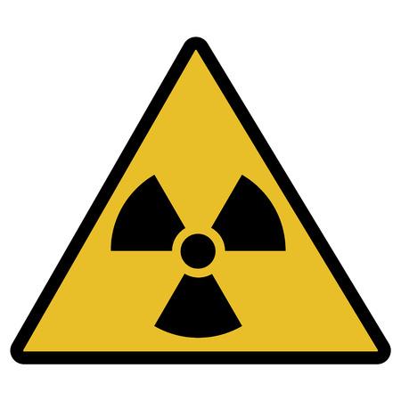 Raster illustration toxic sign, symbol. Warning radioactive zone in triangle icon isolated on white background. Radioactivity. Dangerous radiation area symbol. Chemistry poison plane mark. Stock Photo