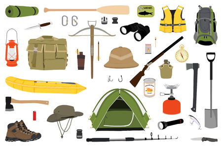 Hiking icons set. Camping equipment raster collection. Binoculars, boat, lantern, shoes, hat, tent, campfire. Base camp gear and accessories. Camping icon set. Hike outdoor elements.