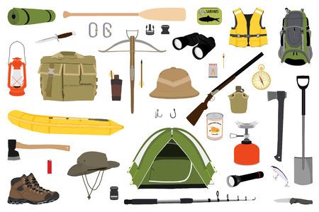 Hiking pictogrammen instellen. Rastercollectie voor kampeeruitrusting. Verrekijker, boot, lantaarn, schoenen, hoed, tent, kampvuur. Basiskampuitrusting en accessoires. Camping pictogramserie. Wandeling buiten elementen.