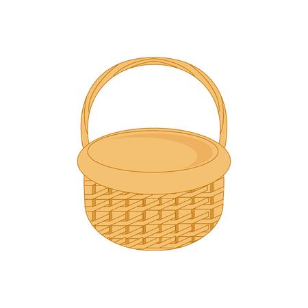 Raster illustration empty wicker basket icon, symbol isolated on white background.