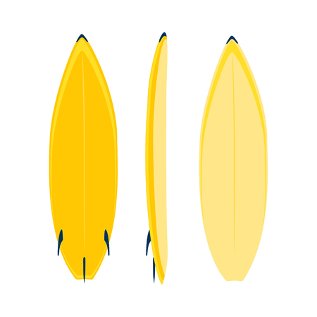 Raster illustration of modern colorful surfboard on white background. Yellow surfboard. Sea extreme sport