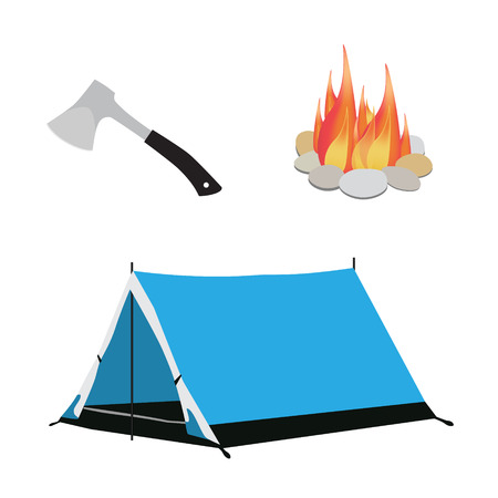 Camping equipment blue camping tent, campfire with stones and axe with black handle raster illustration Stock Photo