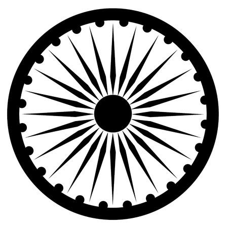 asoka: Raster illustration black Ashoka Wheel Indian symbol - Ashoka Chakra.