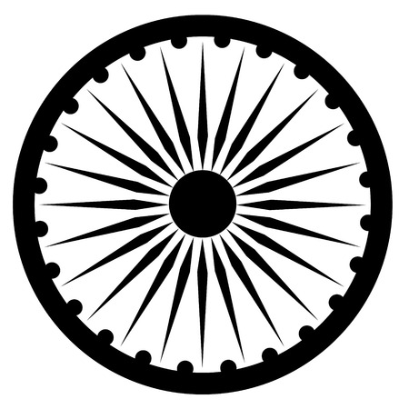 Raster illustration black Ashoka Wheel Indian symbol - Ashoka Chakra.
