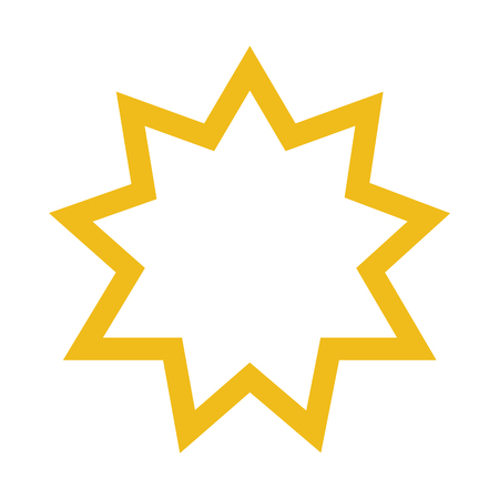 Raster illustration religious nine pointed star. Symbol of Bahai Faith. Bahaism flat icon
