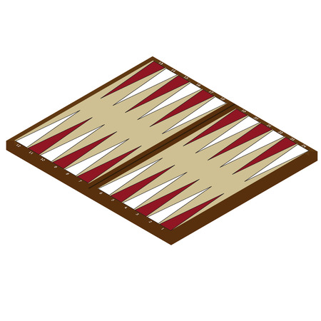 Raster illustration isometric backgammon wooden board and chips for game. Board game Stock Photo