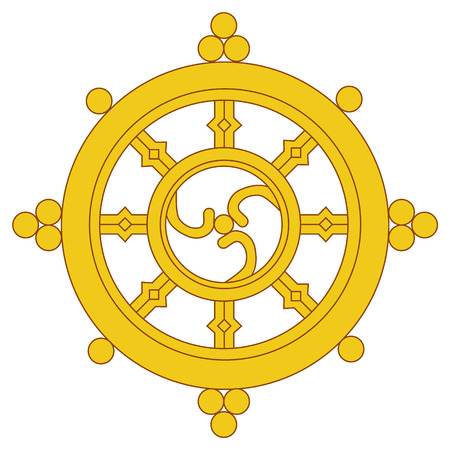 Raster illustration golden Dharma wheel. Buddhism raster symbol. Dharmachakra. Banco de Imagens