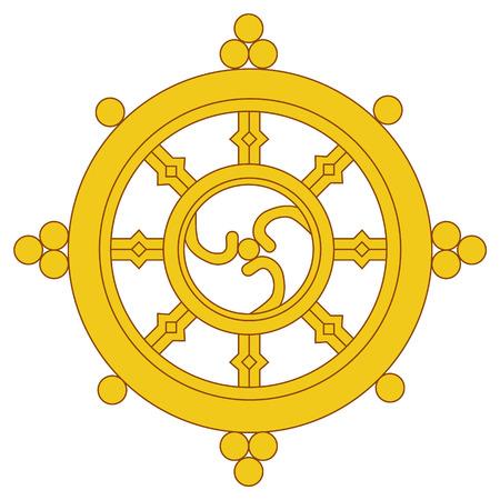 Raster illustration golden Dharma wheel. Buddhism raster symbol. Dharmachakra. Foto de archivo