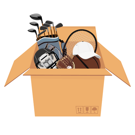 Raster illustration isometric perspective 3d cardboard box with sport equipment Stock Photo