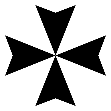 orthodoxy: Raster illustration black sign Maltese cross icon isolated on white background.