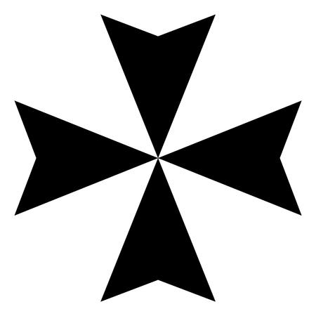 Raster illustration black sign Maltese cross icon isolated on white background.