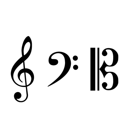 Black note icon set. Music symbol. Musical key collection. Notation clef