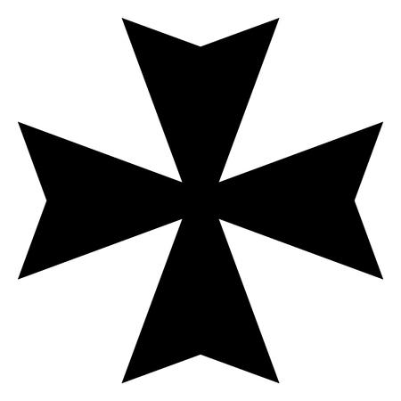 래스터 그림 검은 기호 몰타어 십자가 아이콘을 흰색 배경에 고립.