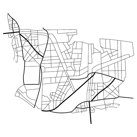 Raster illustration city map. Scheme of roads.