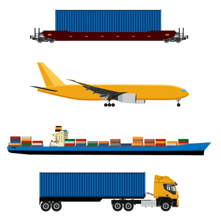 raster illustration of yellow airplane, truck with container, cargo ship and ship container icon set. Maritime shipping. Logistic network. Air cargo. Stock Photo
