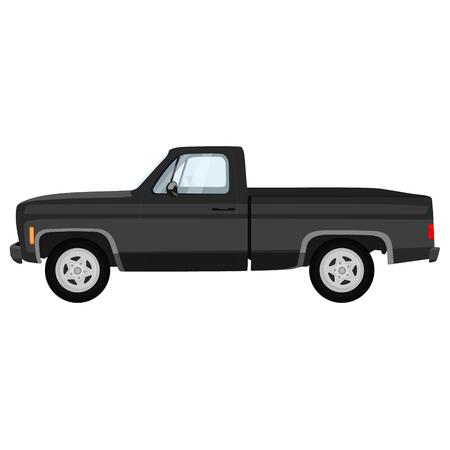 raster illustration of black, grey pick-up truck. Classic pickup truck.